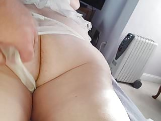 Through panties into ass Wifes dark hairy asshole in see through pantys