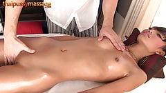 Skinny Thai girl gets a full body massage