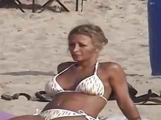 White bikini swimwear - Candid tanned fit milf in white bikini