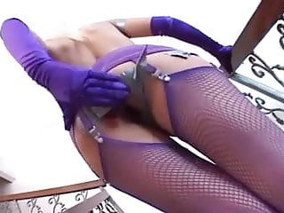Purple latex first aid gloves Kinky anal play in purple fishnets and gloves