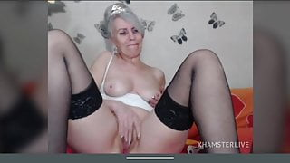 Blonde granny with saggy tits shows delicious pussy