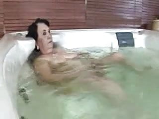Grannie loves to get cum bathed Granny in the bath gets a helping hand
