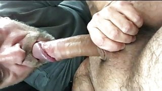 A hungry cocksucker scores a big fat cock in the mouth