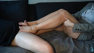 business woman gives footjob and gets cum on hold-ups - business-bitch