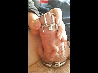 Forced into lesbian Hubby forced into tiny chastity cage