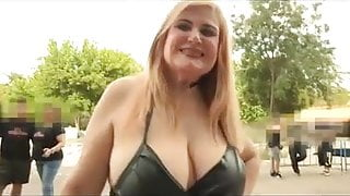 A SPECTACULARLY BUSTY MILF looks for a guy to fuck in public