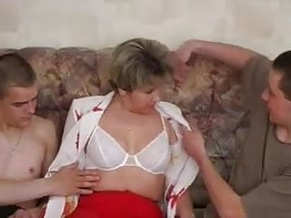 Russian milf and son threesom Russian milf and two guys - 3