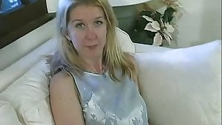 Wide hip small Tit Blonde fucks on a couch