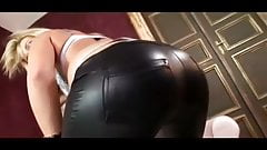 woman home alone in my new black spandex pants