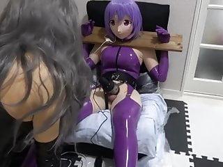 Purple dolphin vibrator Purple latex kigurumi bondage vibrating