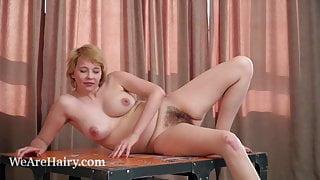 Uli strips naked while enjoying her puzzle
