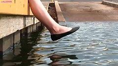 Crystal's black ballet flats, shoeplay, barefoot, muddy