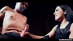 Clair Brooks and her prey bound down to a chair