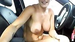 Cute Girl Cums in Car