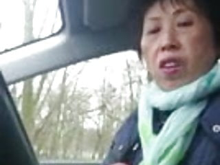 Lady older penetration - Homemade, older chinese lady wanks cock in car