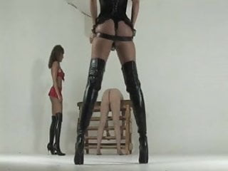 Micheles sexy spanking Kayla and michelle whipping her slave