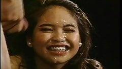Asian teen eye-plastering facial