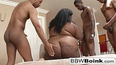 Chubby ebony gets DP'd in a hot hardcore gangbang