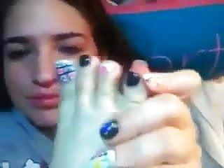Latina tranny feet fetish porn Scarlett worships her own sexy feet