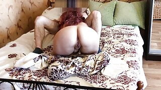 stepson pulled off a blanket from a naked mom and anal