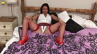 Kinky old mature slut playing alone