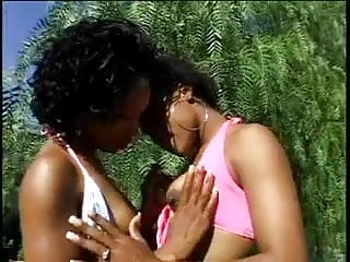 Sexy black lingerie sex - Sexy ebony bends over outdoors and gets pussy licked by girlfriend