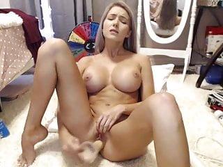 Big fake dildo - Blonde girl with nice fake boobs and dildo