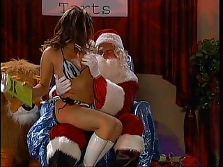 Blonde in dentist chair fucked Santa gets blown and fucks naughty brunette on chair