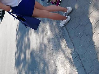Miniskirt amateur Blonde hot girl with blue miniskirt