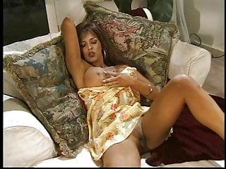 Sex in a slip Long-legged brunette with amazing tits slips finger inside her tight pussy