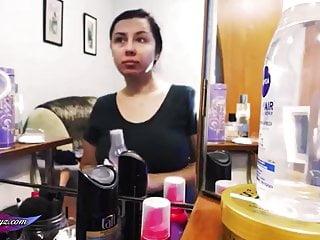 Best natural facial skin makeup Student apply makeup and caress big natural tits before club