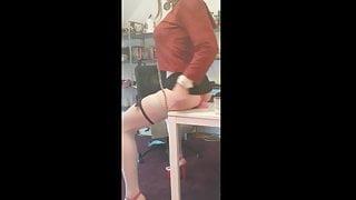 Riding Dildo On A Desk