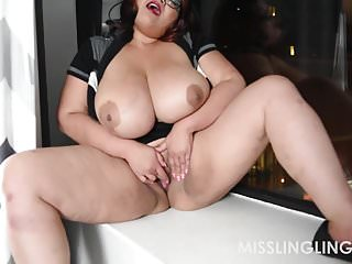 Escort ling island - Asian bbw miss ling ling masturbates in window for all to se