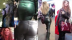 Candid Leather (Beautiful latina in full leather outfit)