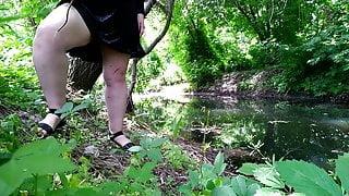 Peeing on dirty panties near the lake