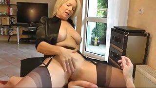 Gorgeous blonde milf works husbands cock