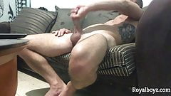 Hot amateur gay masturbates on sofa