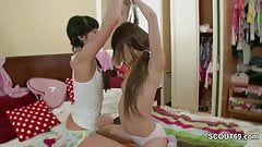 Two Petite Teen first time Lesbian with Toy in Pussy and Ass