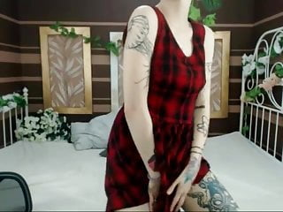 Punk rock cock - Punk rock girl with tattoos pleasures on webcam