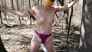 amateur wife tied blindfold nude outdoors and forced orgasm