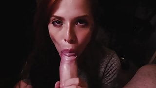 Redhead hot babe blows in dark