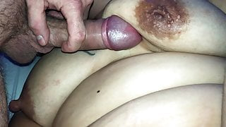 New fat dildo. She has loud orgasm and gets titfucked