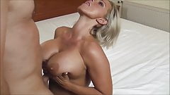 Monster cumshot in her tits