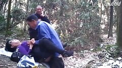 Old Asian Watches His Buddy Tag Mature Prostitute Outside