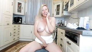 milf having fun in the kitchen