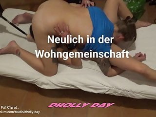 Dirty talk cum eating encouragemnt - German couple with lesbian house slave girl fucking mashine