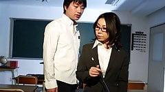 Horny Japanese teacher Minami Kitagawa blows her students ha