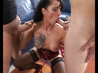 Extreme facial loads Sexy tattoo milf sucks 2 cocks and takes facial loads