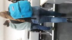 Big tight ass in college teen jeans.
