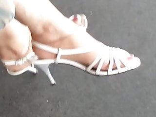 Fetish foot link nylon pantie sock Granny with nylon sock and long red toenails